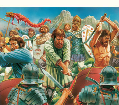 The Dacians defend against the Roman attack!