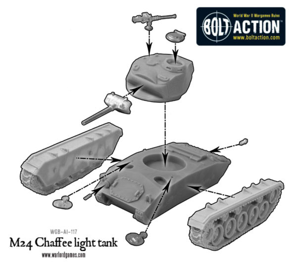 US M24 Chaffee light tank - Construction Diagram - Warlord Games