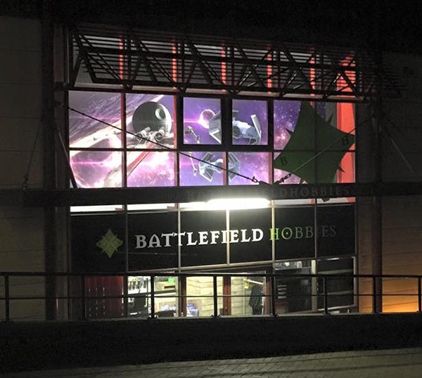 Battlefield Hobbies at night