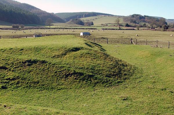 The remains of a Ravlin earth work and gun platform at Hopton Castle Shropshire