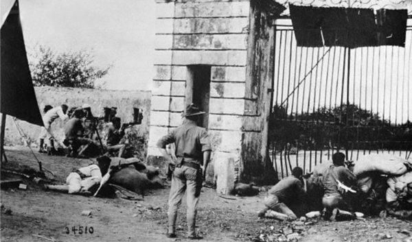 US Marines defending the entrance gate in Cap-Haïten, 1915