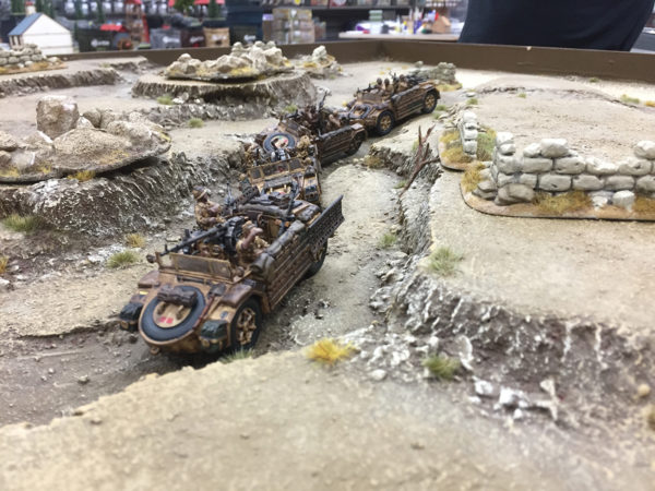 An Italian convoy in a desert scene