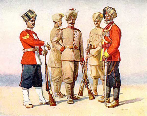 A painting depicting all ranks of the 6th Rajputana Rifles in 1911.