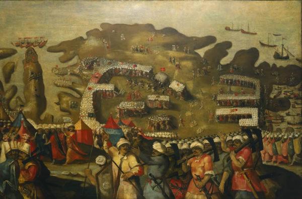 Painting of the Ottoman fleet arriving at Malta.