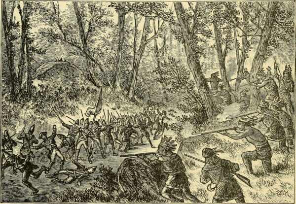 French, Canadian and native American troops ambush a British column during the French-Indian War