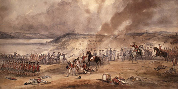 An oil painting of the Battle of Sainte-Foy at the close of the French-Indian war.