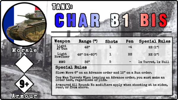 Char B1 bis unit card