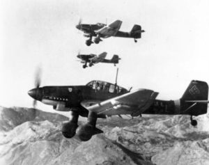 Luftwaffe Ju-87Ds in flight.