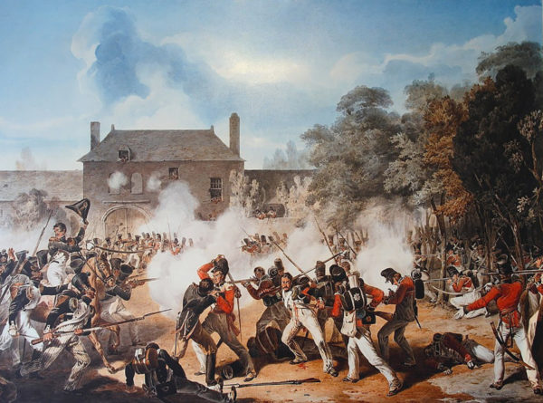 Fighting around Hougounmont during the Battle of Waterloo.