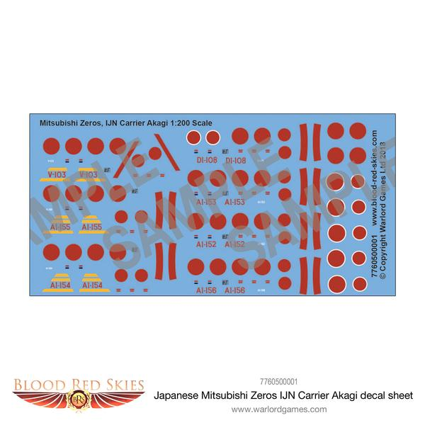 Mitsubushi Zeros IJN Carrier Akagi decal sheet