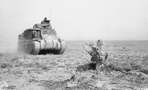 A tank of the US Army 1st Armoured Division advances on Kasserine.