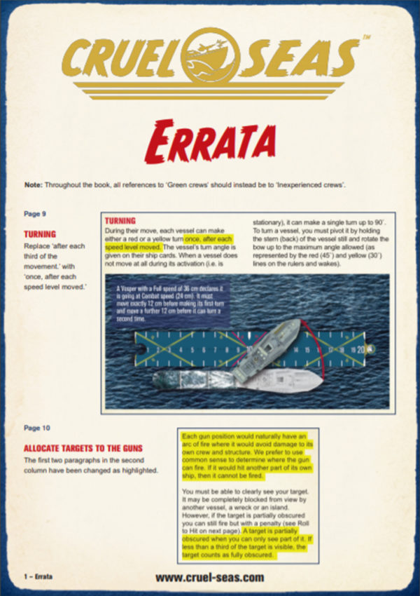 Cruel Seas Errata Version 1.1