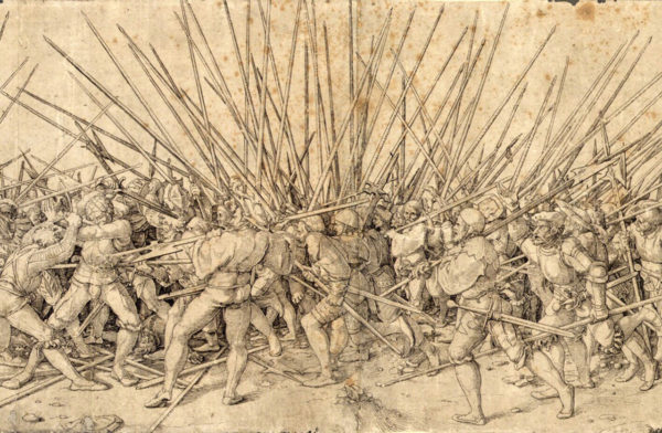 Bad War by Hans Holbein, showcasing the brutality of pike combat up close. Swiss Mercenaries