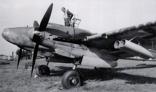 A Bf 110 with the Werfer-Granate 21 rocket tubes mounted under its wings.