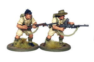 British Commonwealth Diggers, two examples of the new plastics with Aussie heads