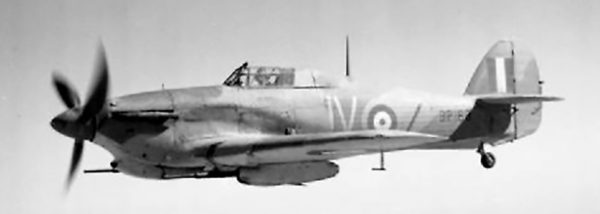 A Hurricane IID of No. 6 Squadron RAF over the North African desert. Note the tank-busting 40mm cannons mounted under the wings.