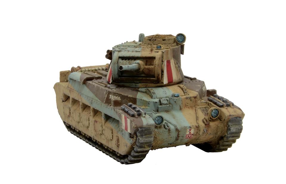 Plastic A12 Matilda II Desert_front right quarter view