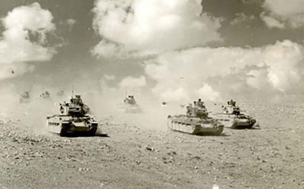Matilda tanks on the attack somewhere in the Western Desert.