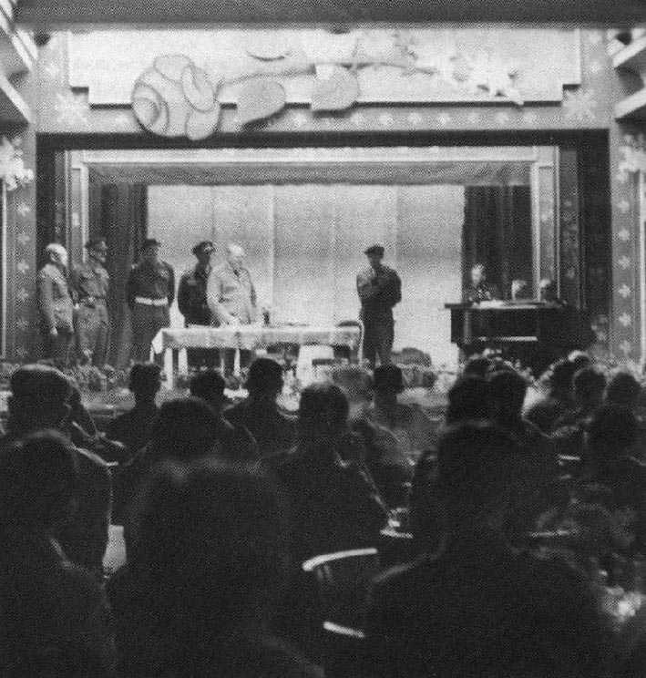 Winston Churchill addresses some of the Division during the opening of the 'Winston Club' in Berlin.