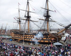 HMS Victory fires a Broadside during the Bicentenary of Trafalgar in 2005