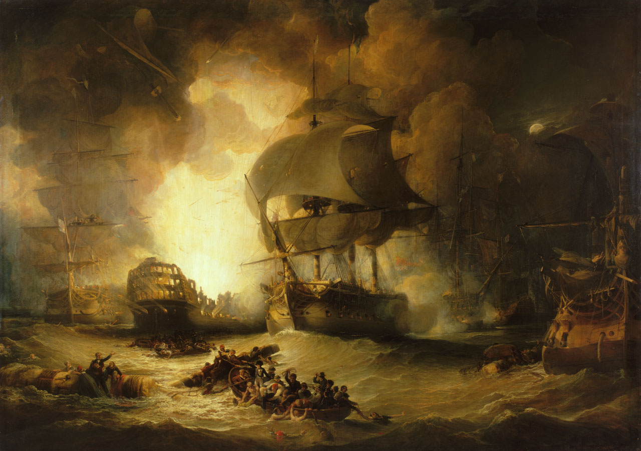 The Destruction of L'Orient at the Battle of the Nile, 1 August 1798, painting by George Arnald