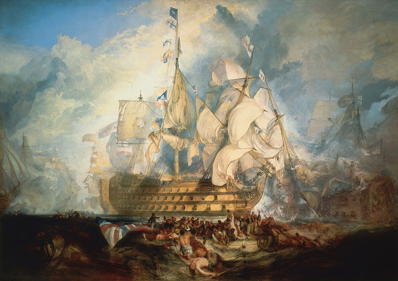 The Battle of Trafalgar, a composite of several moments during the battle, by J. M. W. Turner (oil on canvas, 1822–1824)