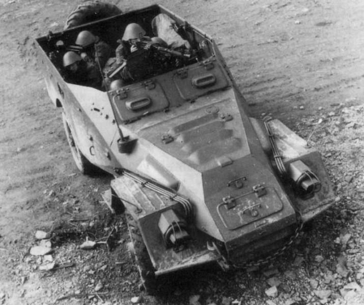 Troops hunker down in the BTR-40