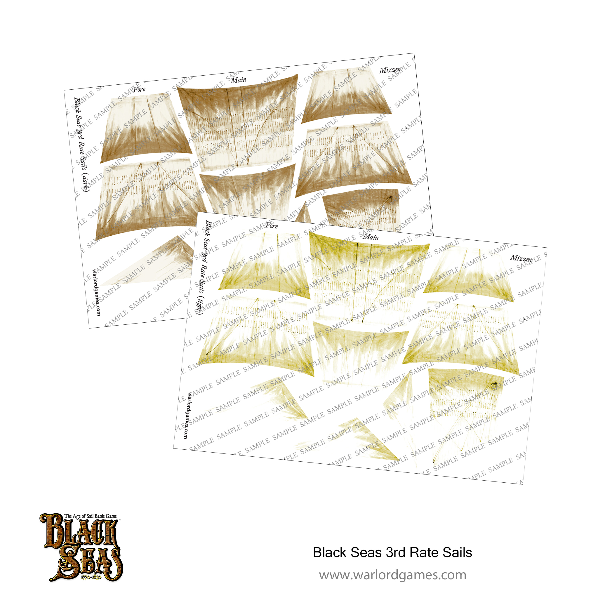 Black Seas 3rd rate Sails (light + dark)