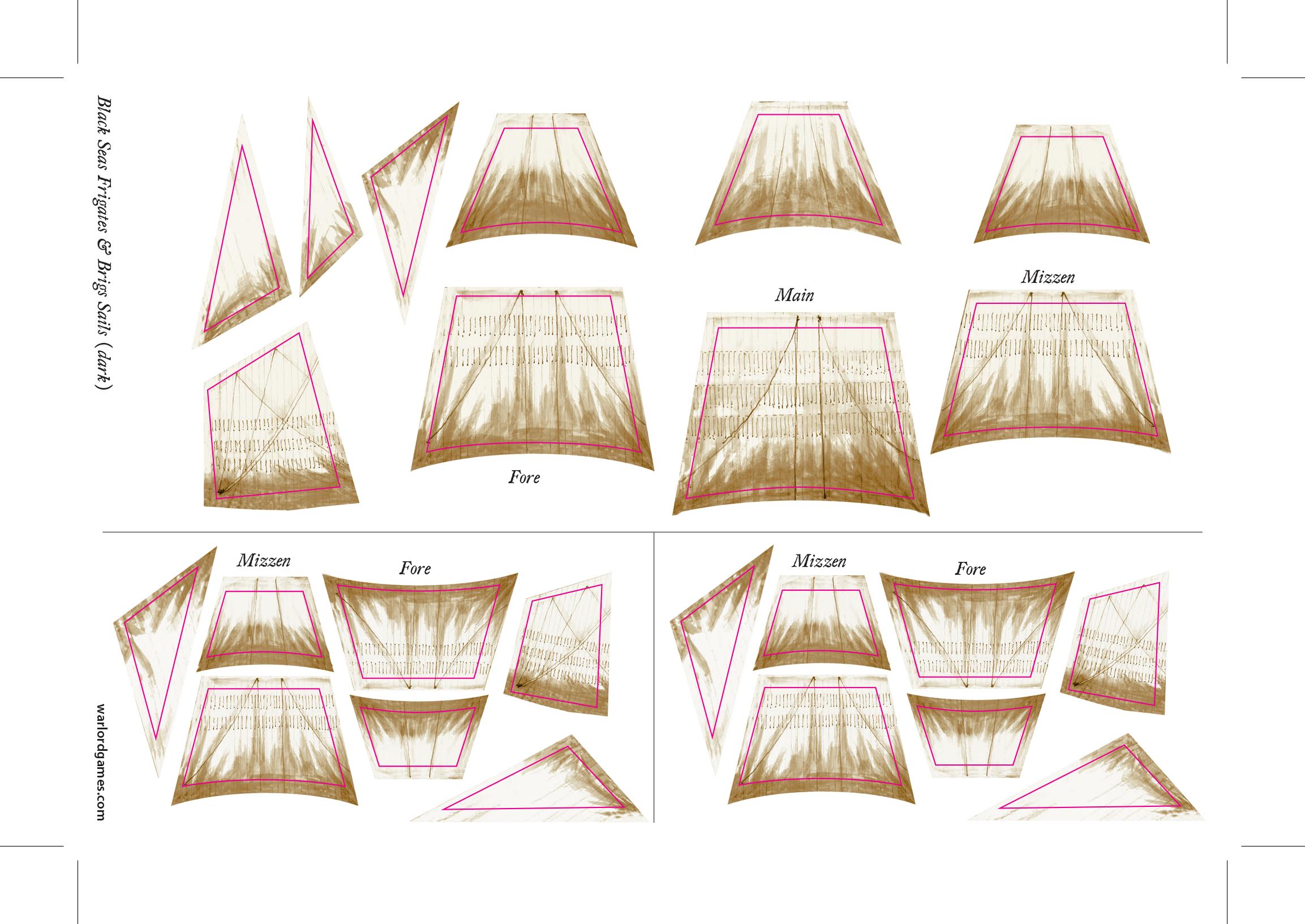Frigates & Brigs Sails Sheet