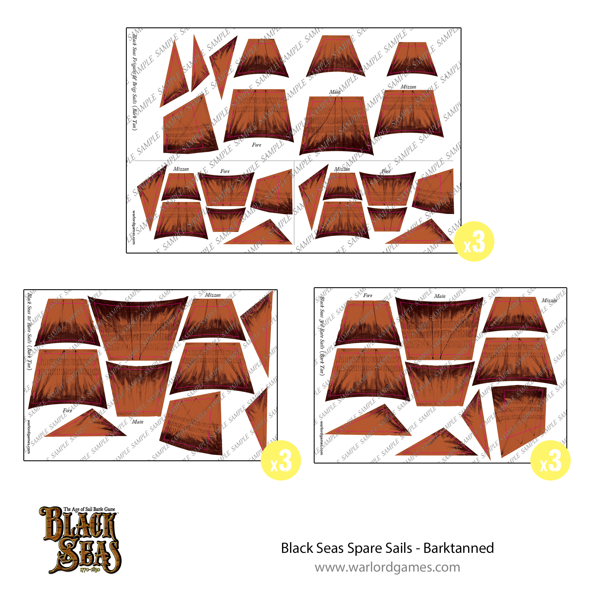 Black Seas Spare sails - barktanned
