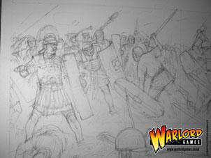 Pencil sketch close-up of Roman battleline