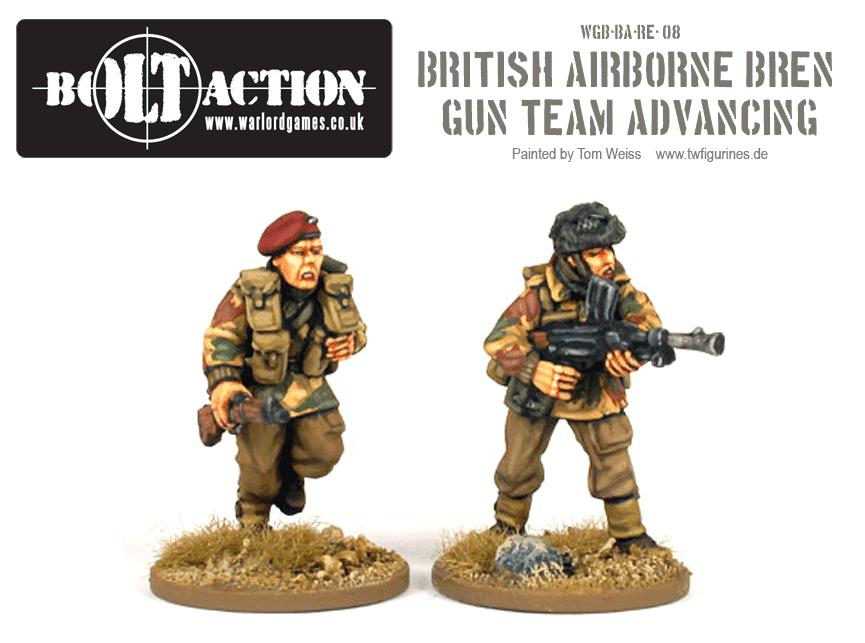British Airborne Bren Gun Team Advancing