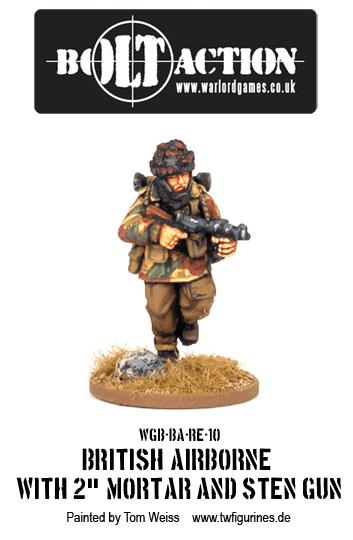"""British Airborne with 2"""" Mortar and Sten Gun"""