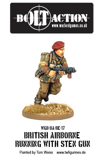 British Airborne Running with Sten Gun