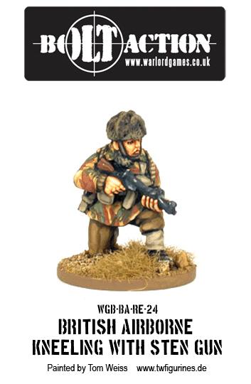 British Airborne Kneeling with Sten Gun