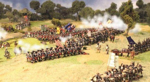 Washington defends against British Redcoats Rebellion AWI