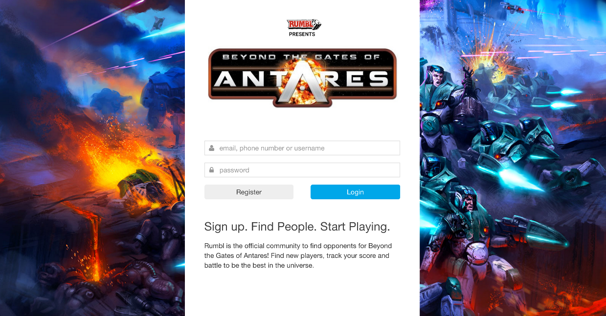 Home screen for Beyond the Gates of Antares opponent finder