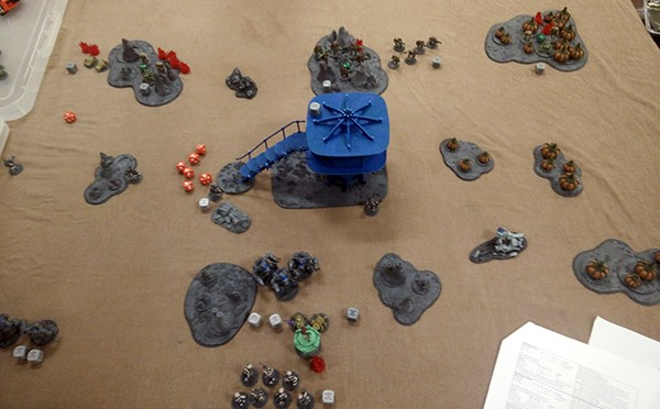 5, Turn 3, the assault in the bottom and pinned left flank