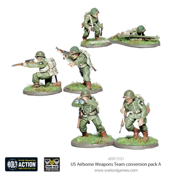 409913101 US Airborne Weapons Team conversion pack A (Sniper, Bazooka, Officer)