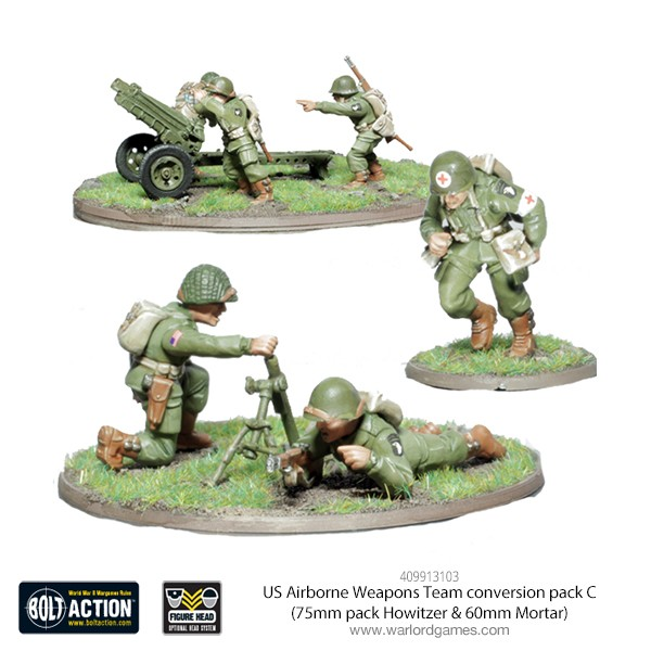 409913103 US Airborne Weapons Team conversion pack C (75mm pack Howitzer & 60mm Mortar)