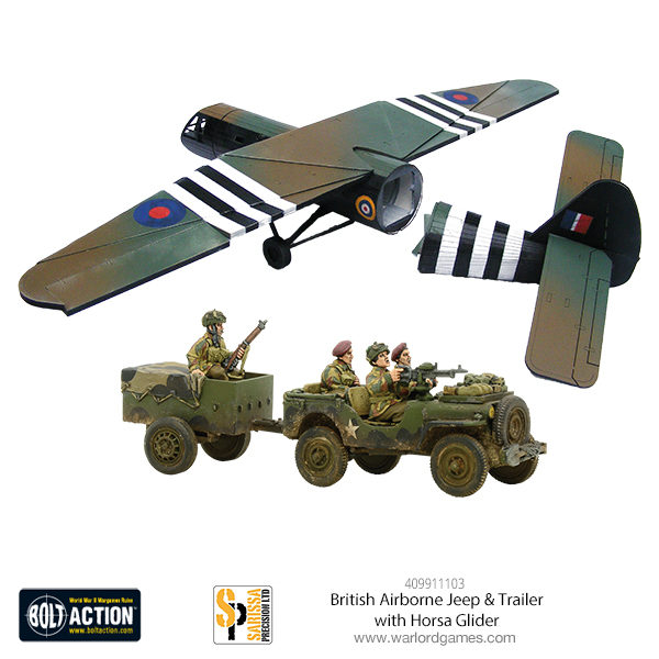409911103 British Airborne Jeep & Trailer with Horsa Glider