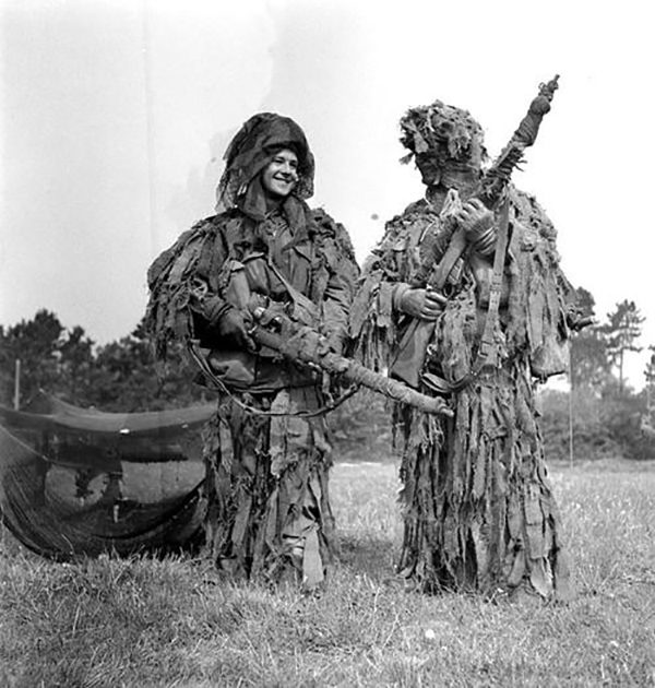 Canadian snipers in ghillie suits