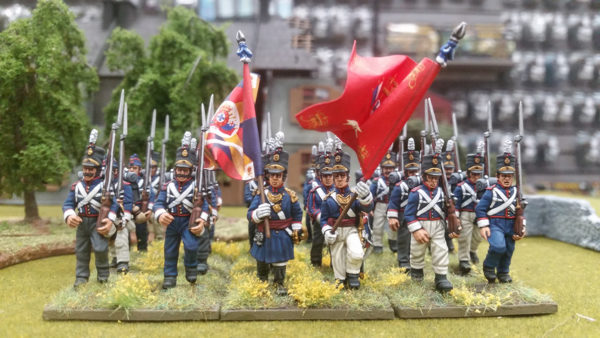 Unit of Plastic Portuguese infantry on the table