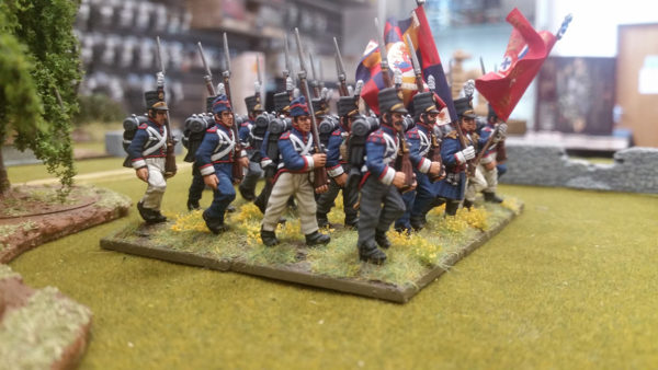 Plastic Portuguese soldiers from Warlord Games marching on the gaming table