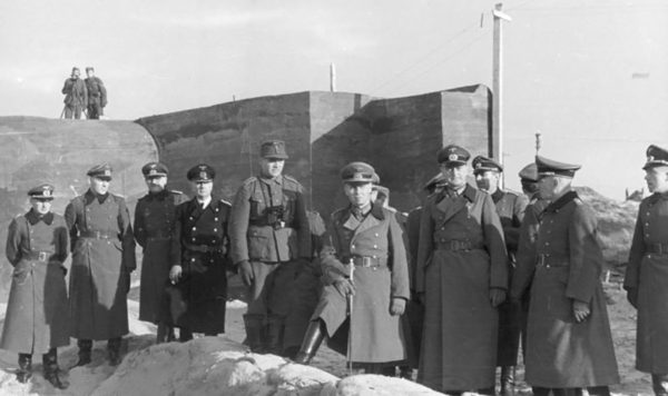 Field Marshal Erwin Rommel visits the Atlantic Wall fortifications.