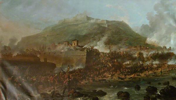 Painting of the attack at San Sebastian
