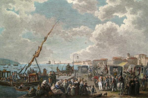 Dockside scene of the Royal family's escape