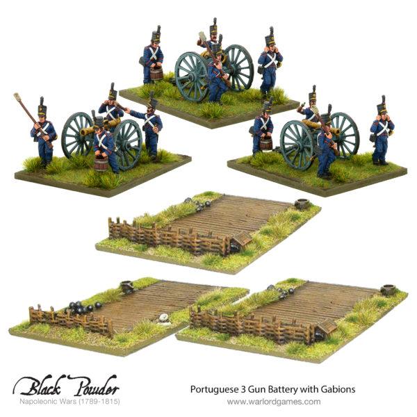 Napoleonic Portuguese 3 Gun Battery with Gabions