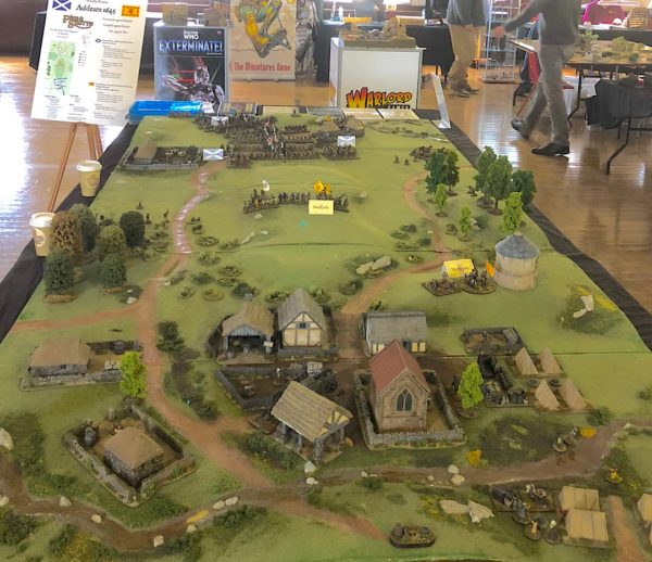 The Auldearn 1645 table, with the village in the foreground and the advancing Covenanters in the background.