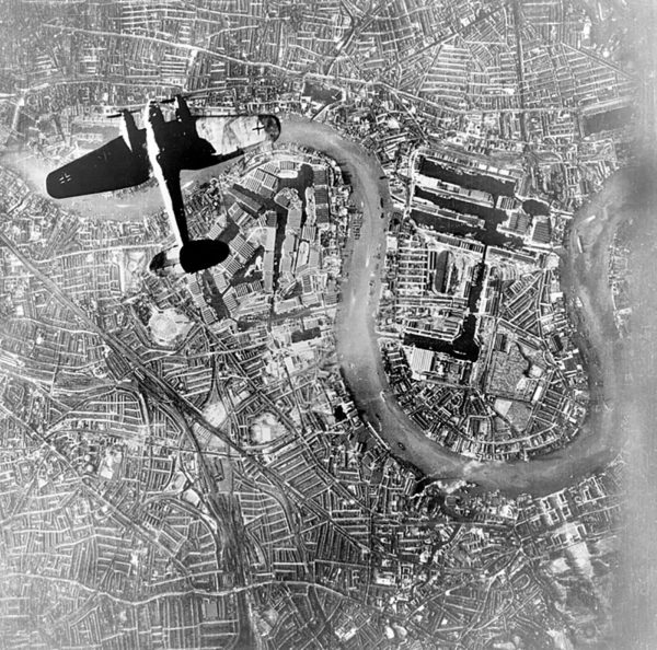 A Heinkel Bomber over London during the Battle of Britain.